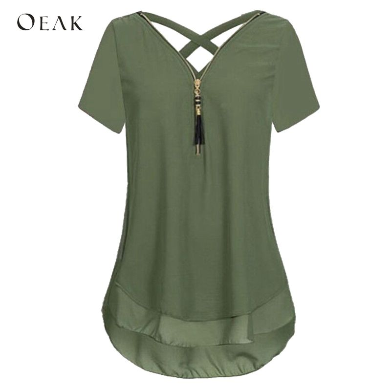 OEAK Female Shirts Tops Short-Sleeve V-Neck Women Blouses Back-Cross Zipper Chiffon Casual