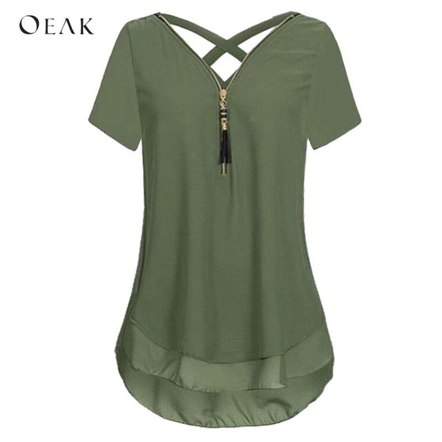 OEAK Fashion V-Neck Short Sleeve Back Cross Summer Chiffon Women Blouses Tops 2018 Casual Zipper Female Shirts Plus Size 5XL