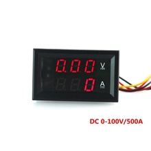 DC 0-100V/500A Dual Volt Amp Meter DC Voltmeter Ammeter DC Voltage Ampere Panel for Car or Machines