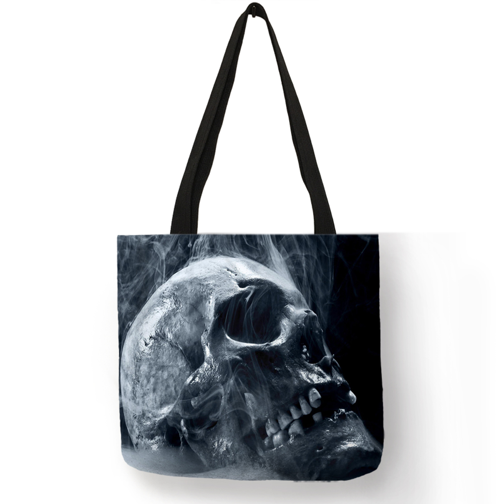 Customize Day Of Dead Skull Print Tote Bag For Women Eco Linen Bags With Print Folding Reusable Shop