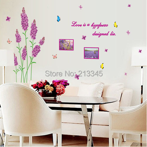 [Saturday Mall]- Love in provence creative home decoration New house marriage room livingroom wall stickers purple lavender 6864