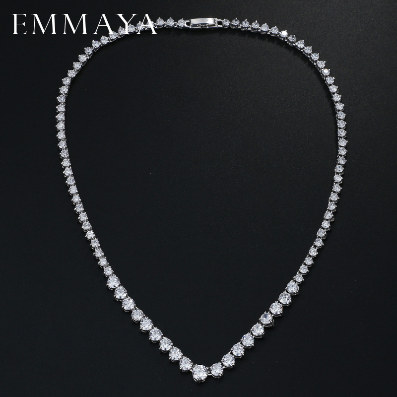 EMMAYA AAA Zircons Stunning Round CZ Crystal Necklaces and L