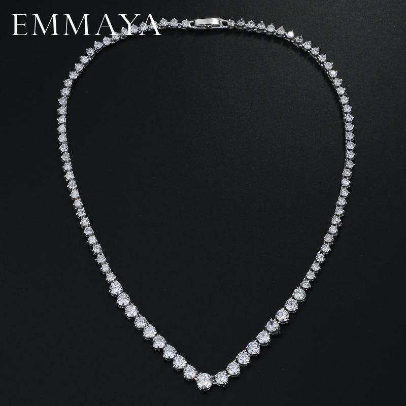 EMMAYA AAA Zircons Stunning Round CZ Crystal Neckla