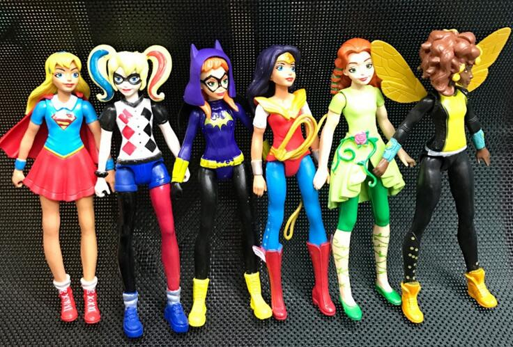 6pcs <font><b>DC</b></font> Super Hero Girls Batgirl Poison Ivy Bumble Bee Harley Quinn <font><b>Action</b></font> <font><b>figure</b></font> Doll Toy 15CM