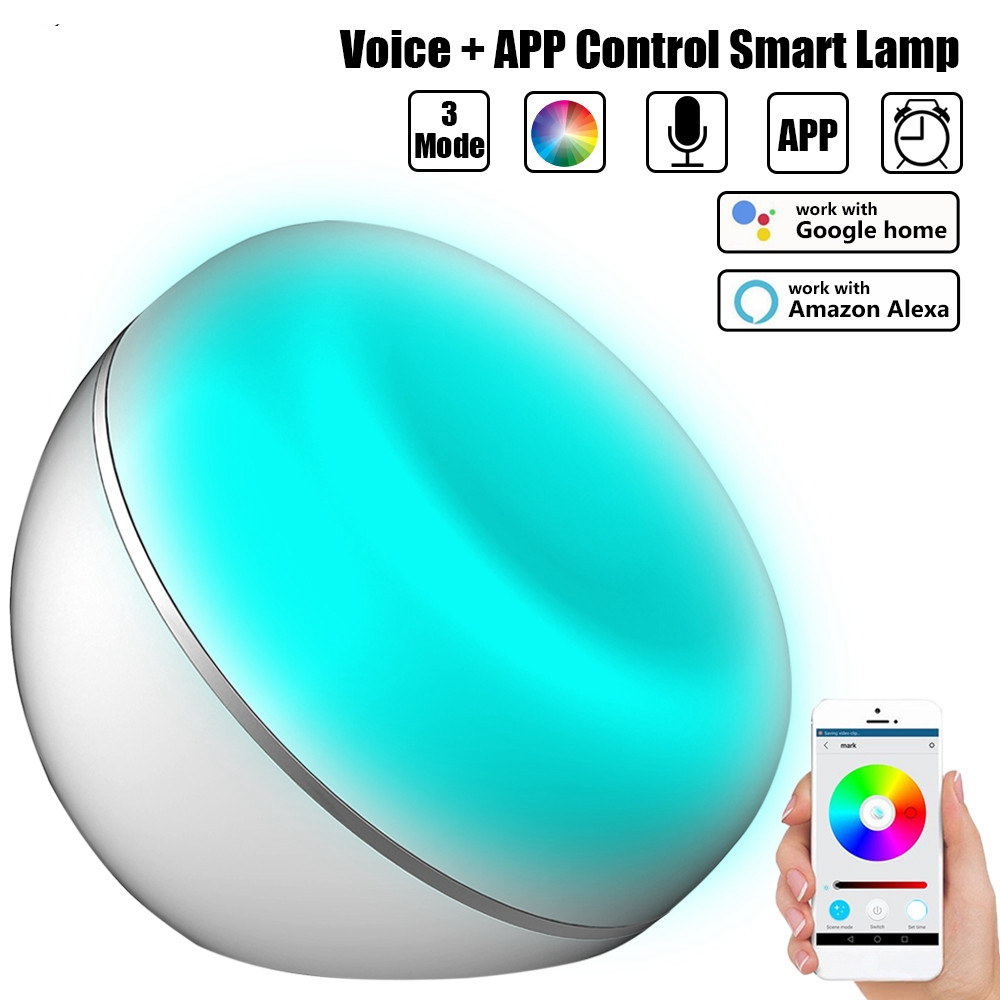 Augienb Smart Wifi LED Dimmable Night Lamp Table Lamp Compatible with Amazon Alexa/Google Home Control Smartphone Voice Control