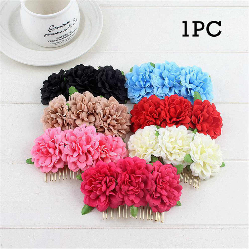 Fabric Artificial Flower Headwear Bridal Hairpin Clips Wedding Bridal Hair Accessories Bride Jewelry Hair Comb Rose Red Flowers