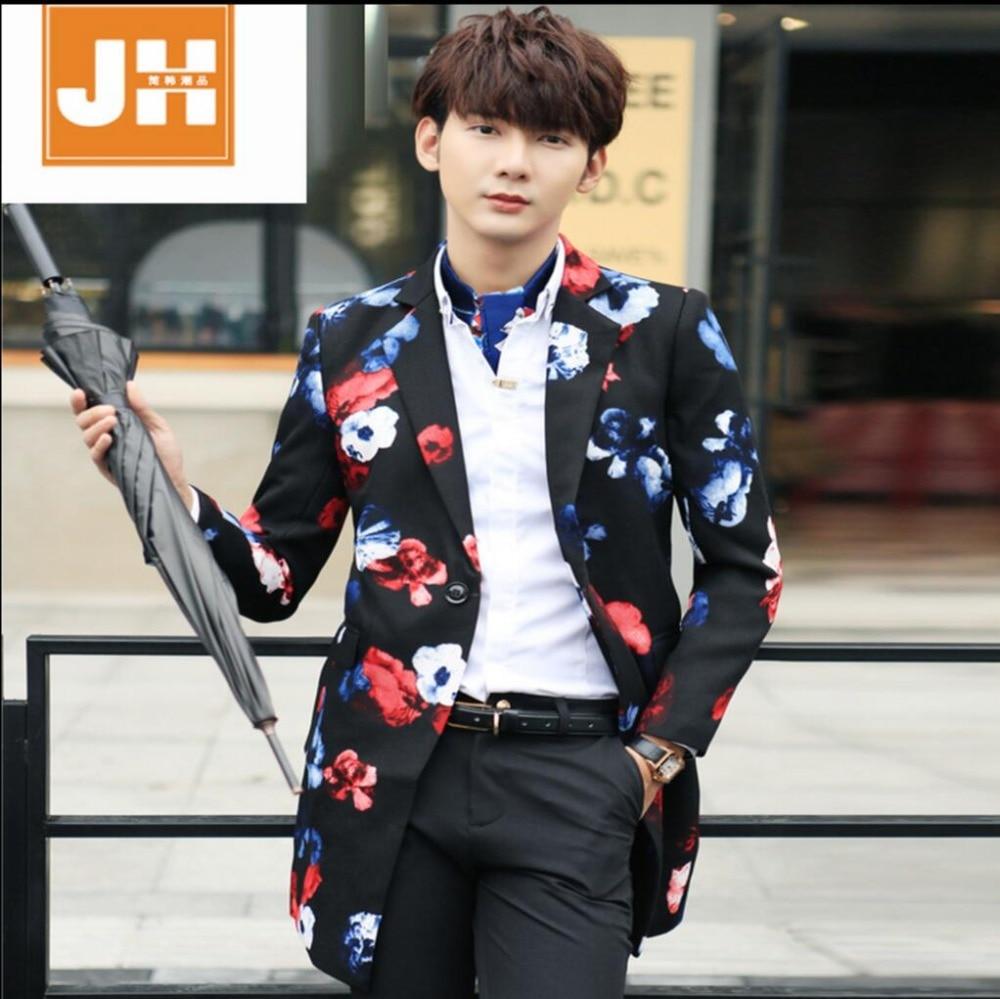 L-3XL HOT New Korean version fashion Men's long coat of Slim casual fashion trench coat printing jacket singer costumes clothing