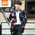 L-3XL HOT New Korean version fashion Men's long coat of Slim casual fashion trench coat printing jacket singer costumes clothing