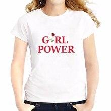 Feminist girl power rose t shirt Women Short Sleeve soft Breathable T-Shirt femme summer new tops tees casual tshirt