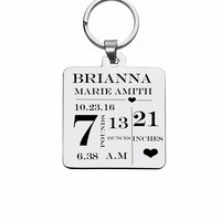 Personalized Baby Stats Tag Keychains Stainless Steel Baby Kids Name Dog Tag Keychains For Boy Girl