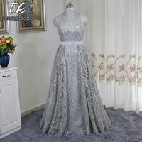 Stand Collar Sleeveless Silver Sequin Saudi Arabia Style Prom Dress With OverSkirt Plus Size Evening Gowns