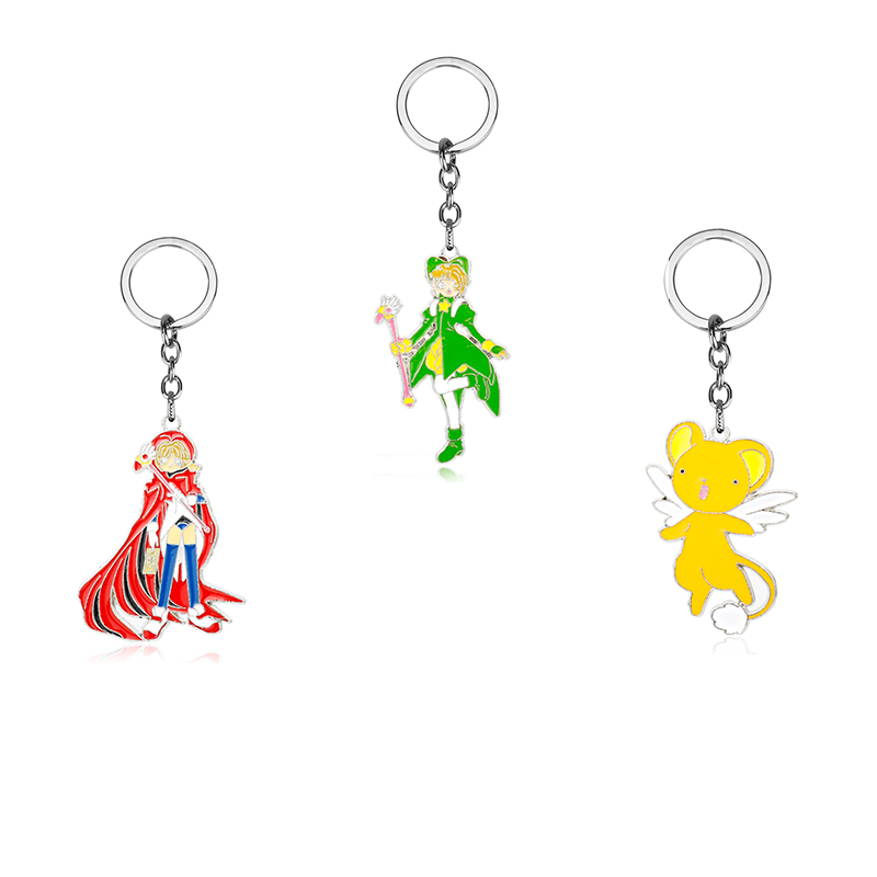 New Anime Cardcaptor Sakura Cerberus Clow Cards Keychain Key Ring Charms Gift
