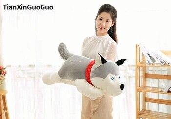 large 90cm cute gray husky plush toy down cotton lying husky soft doll sleeping pillow birthday gift s0594