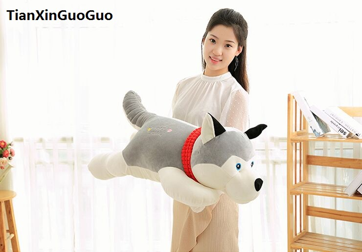 large 90cm font b cute b font gray husky plush toy down cotton lying husky soft