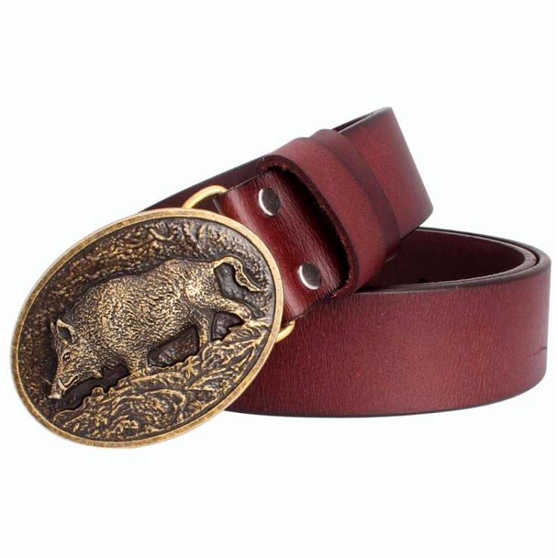 Men's Belt Genuine Leather Male Pig Skin Belt Metal Buckle Fashion Strap For Men Gift Belt Wild Boar Pattern