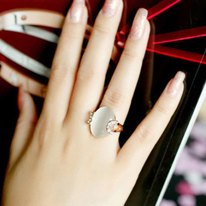 цены MOONROCY Free Shipping Cubic Zirconia Rose Gold Color Austrian Crystal Fashion Opal Ring Jewelry Wholesale for Women Gift
