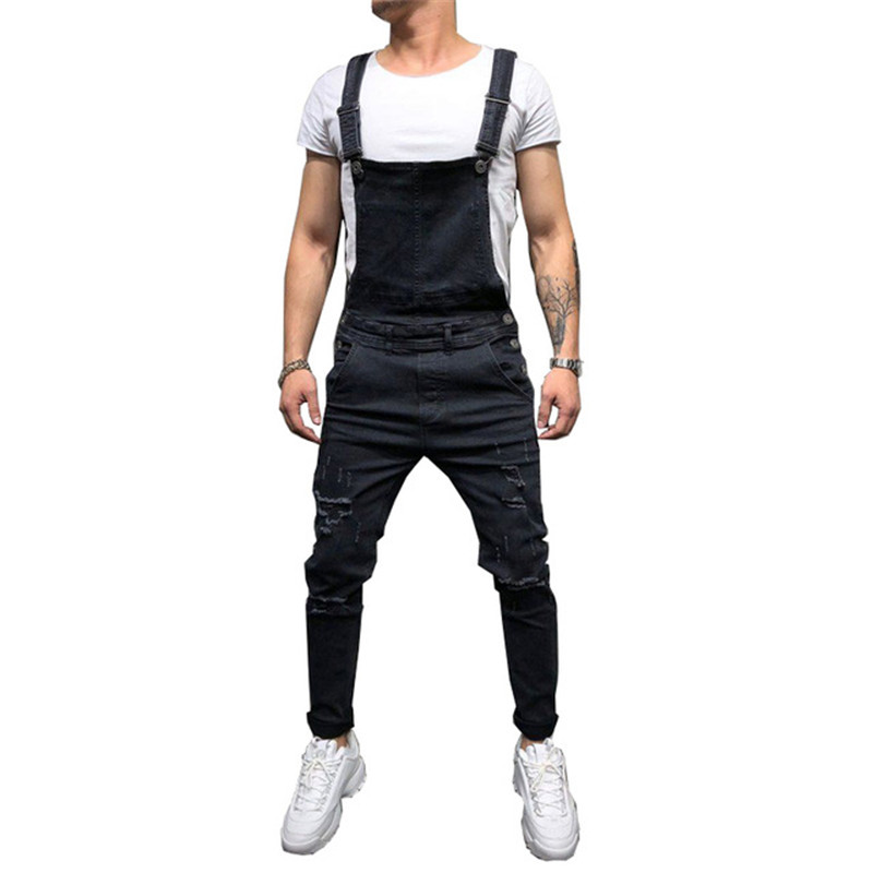MORUANCLE Fashion Men Distressed Denim Bib Overalls Hi Street Ripped   Jeans   Jumpsuits For Man Hip Hop Suspender Pants With Holes