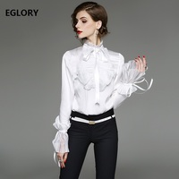 New 2019 Spring Summer Blouses Women Ribbon Bow Tie Ruffles Design Flare Sleeve Solid Black White Vintage Elegants Blouses Shirt