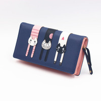 Three cats purse, lady long zipper, Korean version lovely cat, three dimensional cat Purse