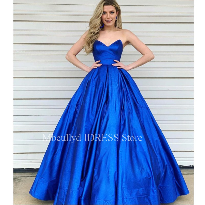 Royal Blue   Prom     Dresses   2019 Elegant Sweetheart Sleeveless Formal Evening Gown with Ruffled Masquerade Party Gowns Custom Made