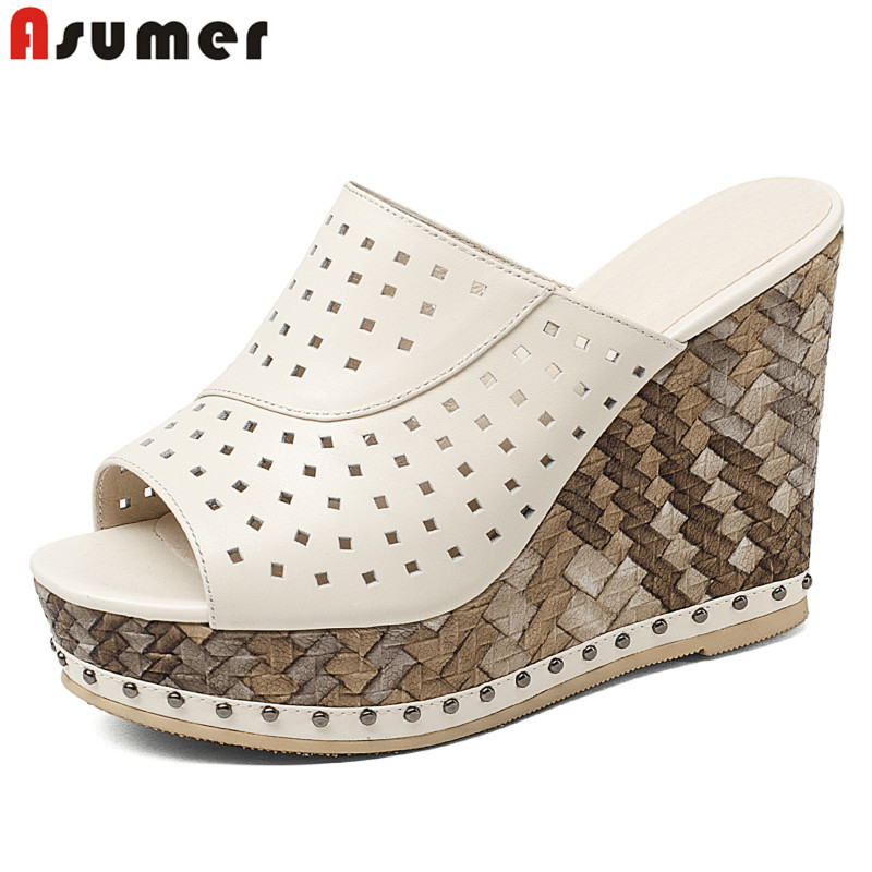 ASUMER 2018 New high quality genuine leather women sandals cut outs wedges high heels slingback peep toe summer female shoes 2018 summer new genuine leather women slippers sexy cut outs high heels shoes fashion slides natural leather sandals for women