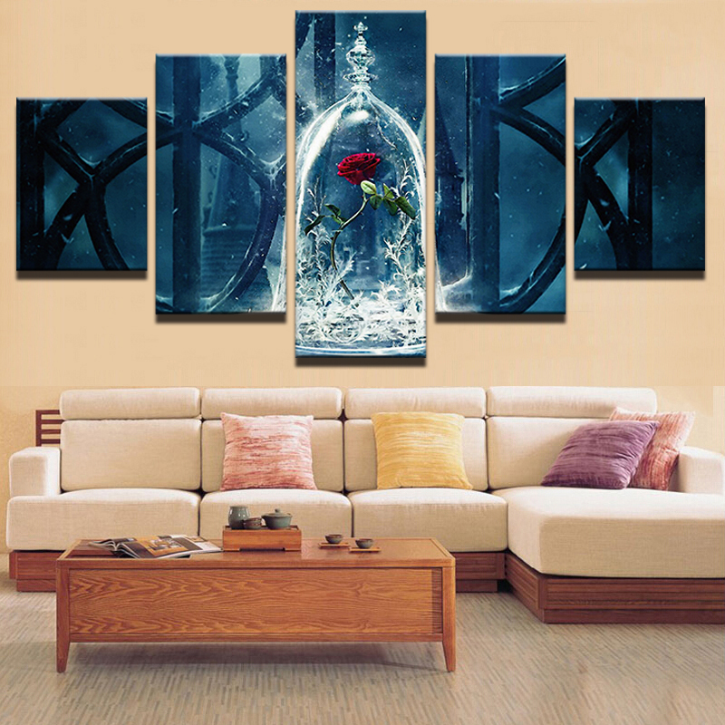 modular canvas home decor wall living room printed poster 5 pieces beauty and the beast painting. Black Bedroom Furniture Sets. Home Design Ideas