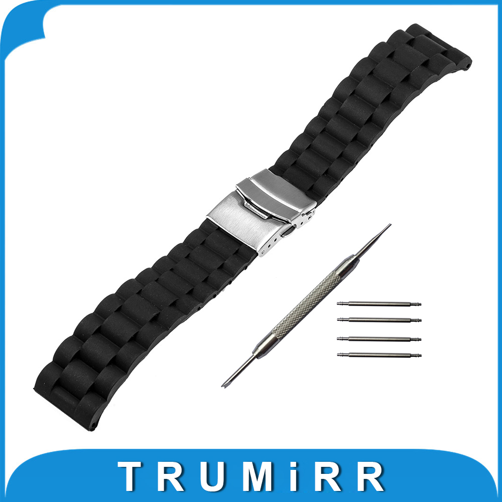 18mm Silicone Rubber Watchband for Withings Activite / Steel / Pop Stainless Steel Buckle Lock Band Resin Strap Bracelet Black