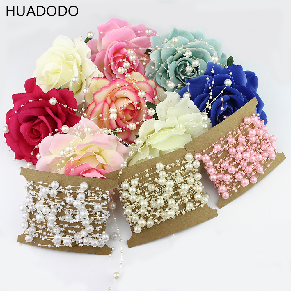 HUADODO 5Meters Beige/White Fishing Line Artificial Pearl Beads Chain Garland Flowers For Wedding Decoration Bridal Bouquet