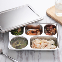 Insulation Boxes 304 Stainless Steel Children Student Lunch Box Fast Food Box Adult Fast Food Tray