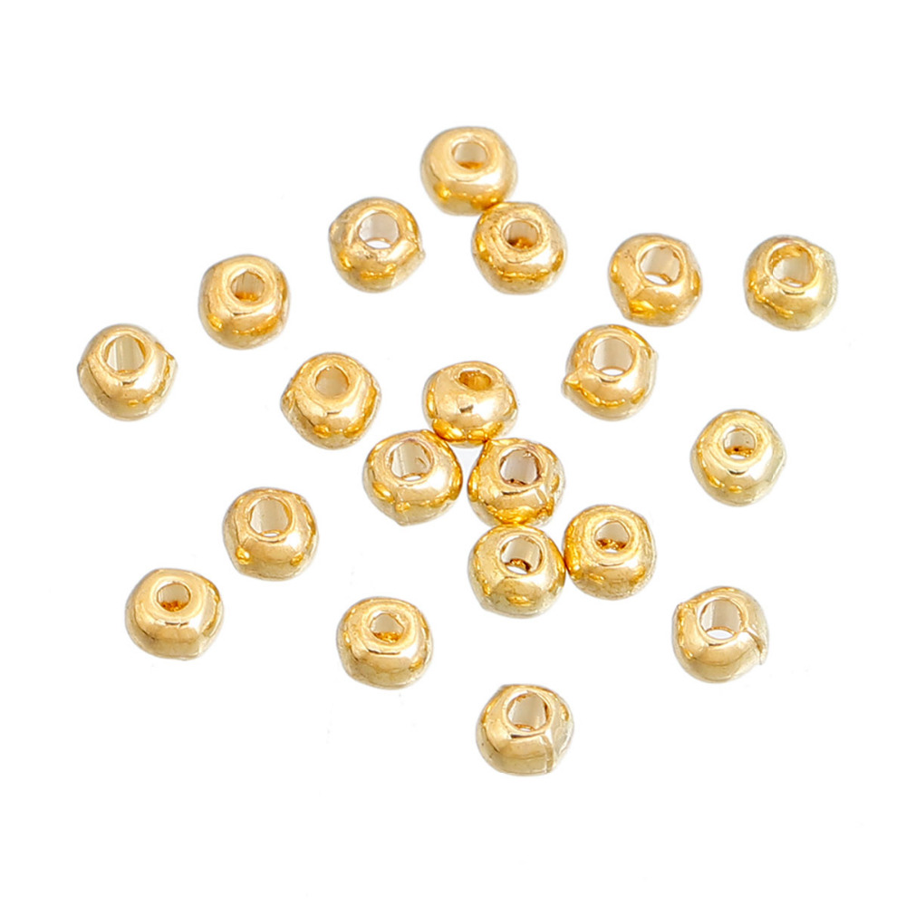 DoreenBeads Zinc Based Alloy Gold Color Seed Beads Round DIY Components About 3mm( 1/8) Dia, Hole: Approx 1.3mm, 500 PCs