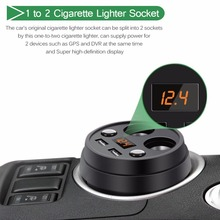 Cigarette Lighter Adapter Socket Splitter Car Charger 12-24V With Volmeter Current Display 2 Port 120W 5V 3.1A Dual USB
