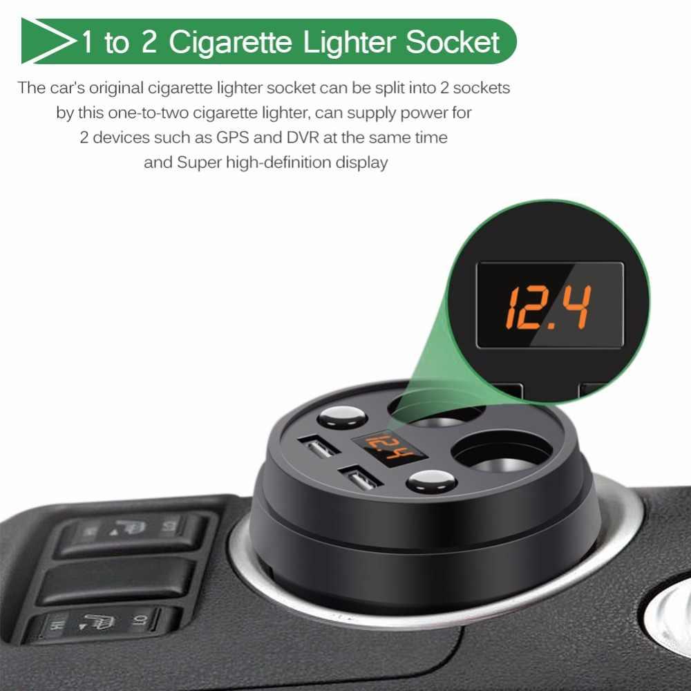 Cigarette Lighter Adapter Socket Splitter Car Charger 12-24V With Volmeter Current Display 2 Port 120W 5V 3.1A Dual USB
