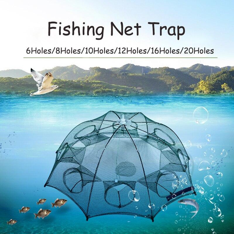 Armadilha para Peixes Rede de Pesca Rede de Malha de Nylon 6 20 Furos Gaiola Automático Guarda chuva Dobrável Dobrável Elenco Caranguejo Camarão Peixe Acessórios
