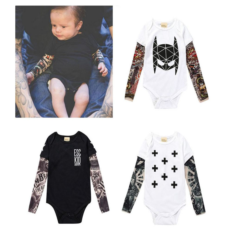 Cute Baby Bebes Boys Fashion Infant Long Sleeve Cotton Tattoo Floral Print Bodysuit Jumpsuit Autumn Baby Boy Outfit Clothing Set