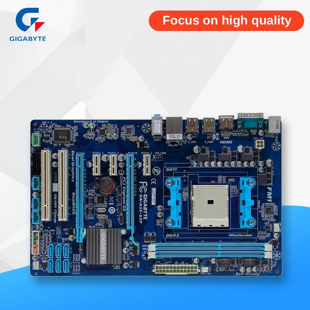 Gigabyte GA-A55-S3P Desktop Motherboard A55-S3P A75 Socket FM1 DDR3 32G SATA2 USB2.0 ATX msi a55 g45 original used desktop motherboard a55 socket fm1 ddr3 sata2 usb2 0 atx