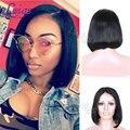 Lwigs Pelo Humano Brasileño Pelucas Bob Corto Recto Pelucas de Corte Bob para Mujer Negro Pelo Peinados Bob Llena Del Cordón/Pelucas Delanteras Del Cordón