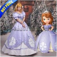 София первая Принцесса София фиолетовый косплей костюм для взрослых София принцесса платье на заказ