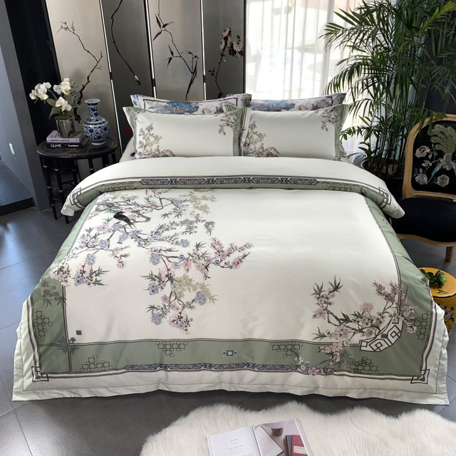 Birds Plant print 800TC Egyptian Cotton Silky Duver cover Bed set Luxury Bedding Set Queen King size Bed sheet set Pillow shams