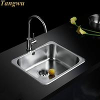 Kitchen Sinks Free shipping 304 stainless steel sink single slot package drawing stage thickened Kitchen Sinks 53X45cm