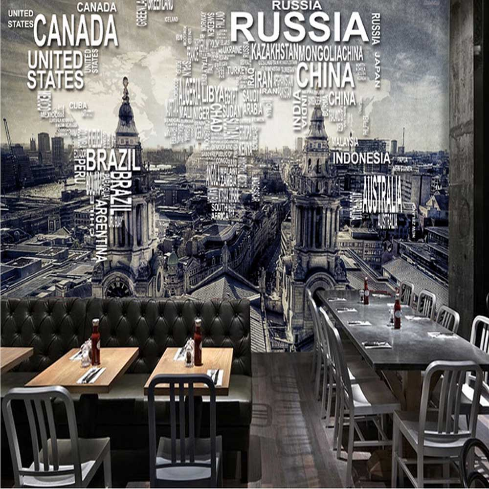 Custom Vintage World Map Wall Mural Photo Wallpaper for Restaurant Cafe Wall Decor Retro Wall Paper Roll Papel De Parede 3D Sala custom 3d stereoscopic mural monroe marilyn head papel de pared european style wall paper roll restaurant place of entertainment