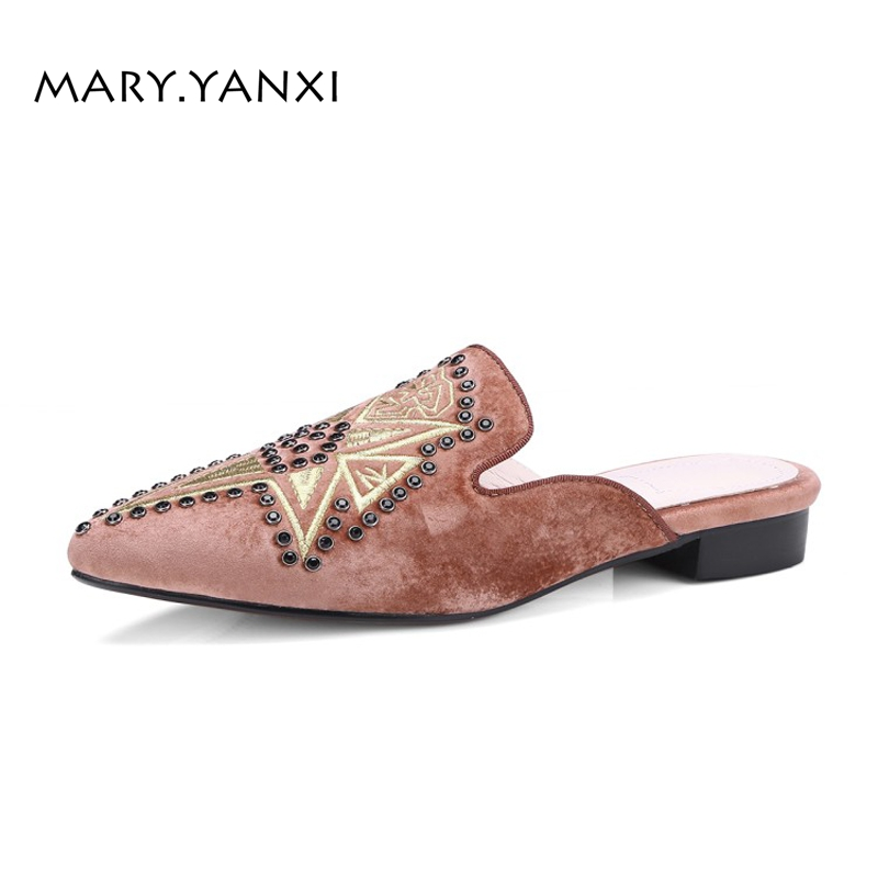 Spring/Autumn Women Mules Slippers Plus Size Lazy Shoes Embroider Flock Low Square Heels Fashion Casual Slip-on Pointed Toe spring autumn women pumps mules shoes patent leather casual fashion slip on pointed toe big size lazy shoes shallow thin heels