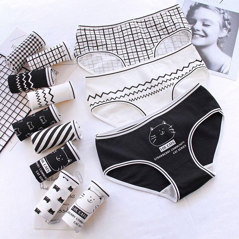 Luckymily Women's Underwear Sexy Briefs Cotton Letter Animal Seamless Underwear Sexy Girls Print Underpants Lingerie Thong Tanga