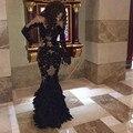 Роскошный черный перо пром платья с длинными рукавами чистой Champange арабский вечерние платья реального тюль русалка вечерние платья платья
