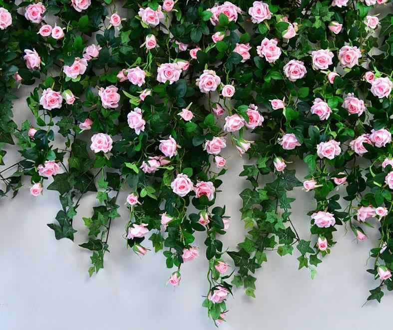 (white red pink champagne fuschia ) 120cm hanging Flowers garland Wedding Arch rose string Home Wedding Decoration Backdrops