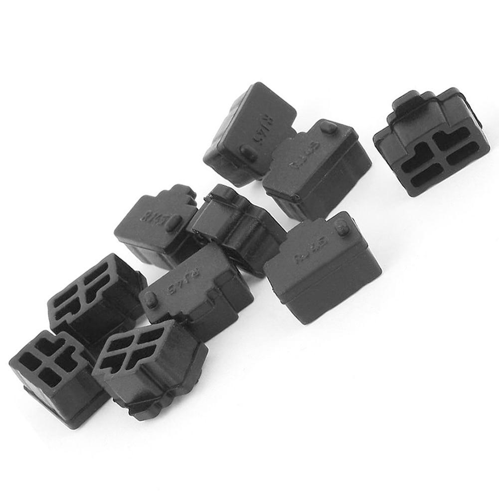 Hot Sale 10Pcs Black Ethernet Hub Port RJ45 Anti Dust Cover Cap Protector Plug For RJ45 Female Jack