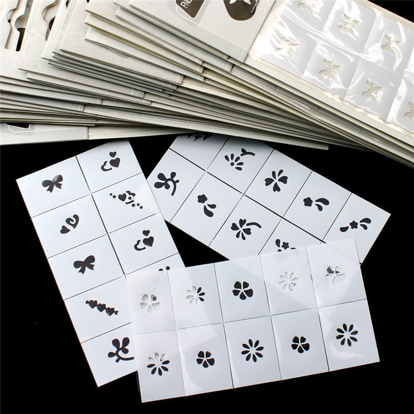 10pcs 20pcs 30pcs Pattern Template Stencil Stickers Set Airbrush Stencils Nail Art Design for Fingers & Toes ( Style random) 10pcs nail art stamping printing skull style stainless steel stamp for diy manicure template stencils jh461 10pcs