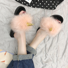 FASHION UNICORN Winter Warm Slippers Sweet Women Flully HOME PLAIN  Really Fur Pink Indoor Ladies Mules Slip