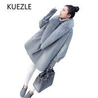 Woolen coat women 2018 Korean version of the autumn cardigan caot shirt gray large fur collar winter elegant woolen windbreaker