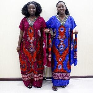 Image 5 - 伝統的なプリントスパンコール半袖ロングドレスアフリカ Dashiki カジュアルの服