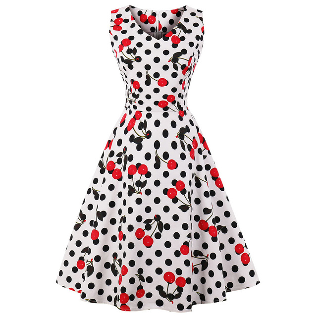 906a54317d5c9 US $15.23 40% OFF|Wipalo Cherry Print Vintage Dress Women 2019 Summer Pin  Up Dresses 50s Rockbility Robe Plus Size A Line Party Dress Vestidos Red-in  ...